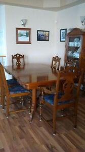 Solid Walnut dining table, chairs and china cabinet Kingston Kingston Area image 1