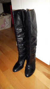 Nine West black leather boots size 5.5