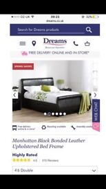 Black leather sleigh bed