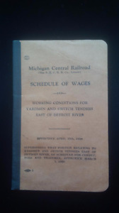 Michigan Central Railroad, Schedule of Wages Booklet 1938