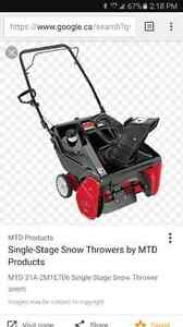 Mtd snowblower 21inch
