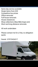 Man and van removal service from £20