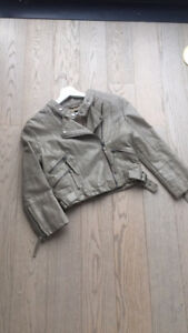 TOPSHOP faux leather biker jacket beige khaki S