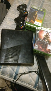 Xbox 360, two controllers, 16 games and kinect