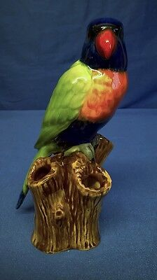 QUAIL CERAMIC LORIKEET SPILL VASE - EXOTIC PARROT PARAKEET MODEL OR BIRD FIGURE