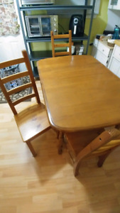 Maple table and 6 pine chairs