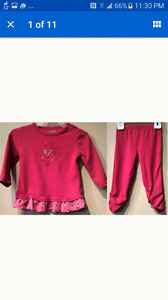 Kushies 2pc 18 month set ~ baby toddler clothes pink hearts