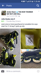 boys/men roller blades size 9 to 11