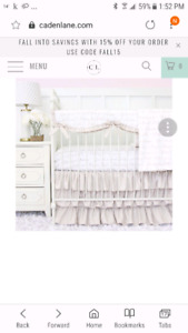 Complete crib set for baby girl
