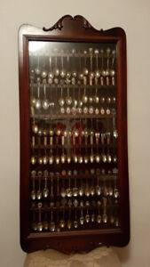 Vintage collection of small decorative spoons , framed