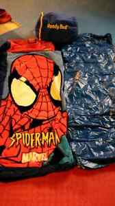 Selling 2 sleeping bags with inflatable mattress. Spider man!!