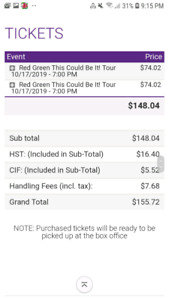 2 tickets- Red Green at the Grand Theater Oct.17