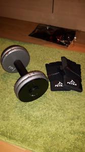 Gants de musculation et poids de 15lbs