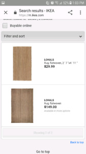 Two Ikea jute rugs