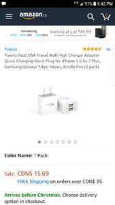 Dual USB charging block