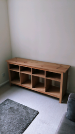 Hemnes natural wood console table/TV unit by IKEA.