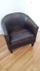 set of two faux leather chairs