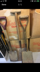 Shovels and spades in excellent condition