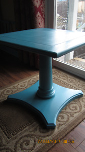 Blue Pedestal End Table