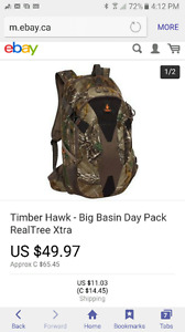 Camo timberhawk real trea extra back pack new