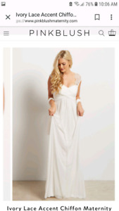 Maternity White Ivory Lace Evening Gown