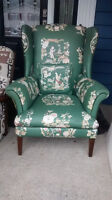 Wing back chair & matching pillow.