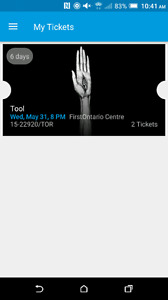 Tool tickets for May 31st in Hamilton
