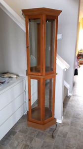 Oak mirror glass display curio cabinet shelf with lights