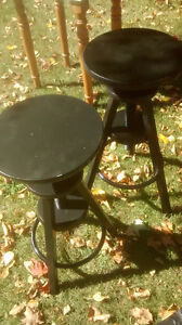 2 black adjustable stools,or Metal trellis table + glass top.