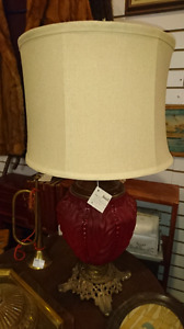 Antique Pittsburgh satin glass beaded converted lamp