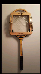 Awesome antique  tennis racket with guard