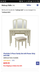 Vanity Set with power strip and USB