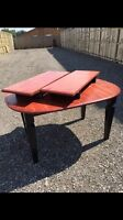 Wooden cherry and black dining/ kitchen table with two leafs