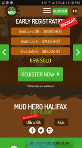 3 Mudhero tickets for Halifax NS, July 8th