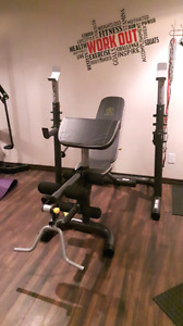 Gold Gym Bench Olympic with bar and weights
