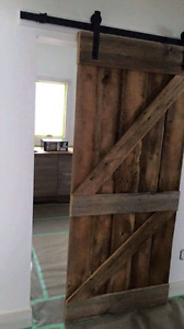 Antique style sliding barn board doors