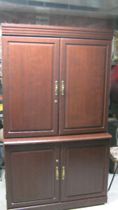 Solid Wood Armoire/Desk with Lighting and Storage