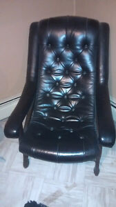1960's black leather captains chair