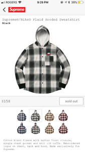 Supreme black nike flannel sweater