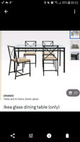 Ikea glass dining table only.