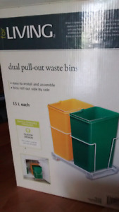 Dual pull out waste bins
