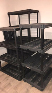 Plastic resin molded heavy duty industrial shelving storage rack