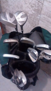 Left hand golf clubs with bag
