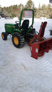 855 john deere hydrostatic tractor and snow  blower