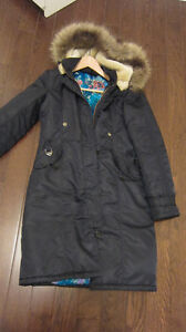 Navy Blue parka jacket with blue Chinese print design inside