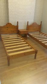 2 pine beds frames