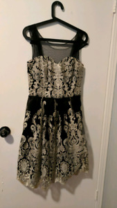 Black and Gold Embroidered Dress Medium