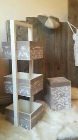 Shabby chic, wooden storage unit and bin