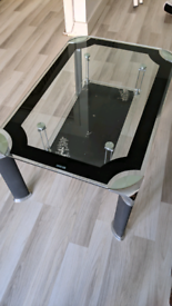 Glass black silver coffee table