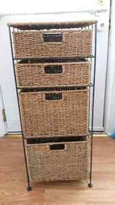 Wicker drawer unit